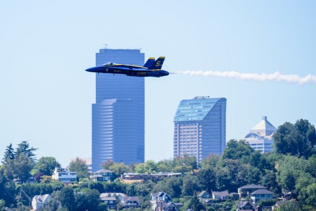 Blue Angel roars past downtown Seattle