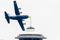 Fat Albert buzzes the Space Needle