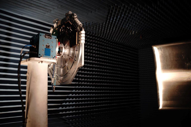 Antenna prototype, based on liquid crystal technology, being tested in one of Kymeta's anechoic chambers