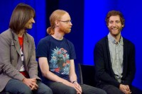 Thomas Middleditch, right, with Alex Kipman, left, HoloLens and Kinect creator; and Jens Bergensten, the Minecraft lead developer.