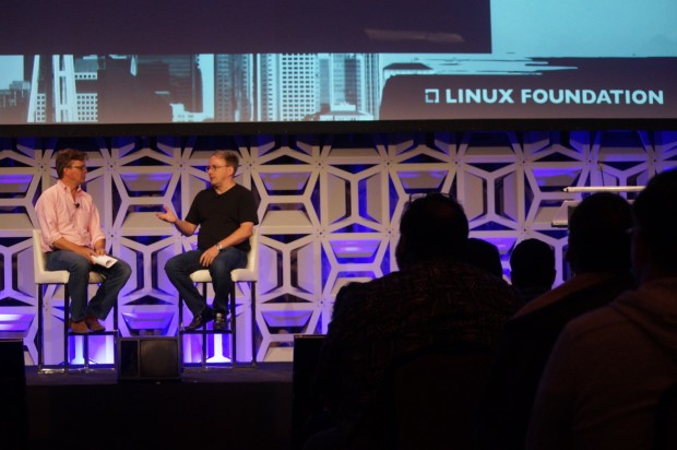 Linux Foundation executive director Jim Zemlin and Linus Torvalds at LinuxCon this morning.