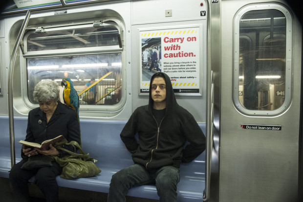 "MR. ROBOT -- ""wh1ter0se.m4v"" Episode 108 -- Pictured: Rami Malek as Elliot Alderson -- (Photo by: David Giesbrecht/USA Network)"