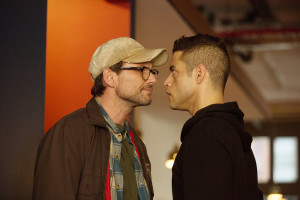 Christian Slater as Mr. Robot, and Rami Malek as Elliot Alderson (Photo by: Christopher Saunders/USA Network)