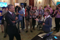 President Barack Obama meets with an entrepreneur at the first-ever White House Demo Day.