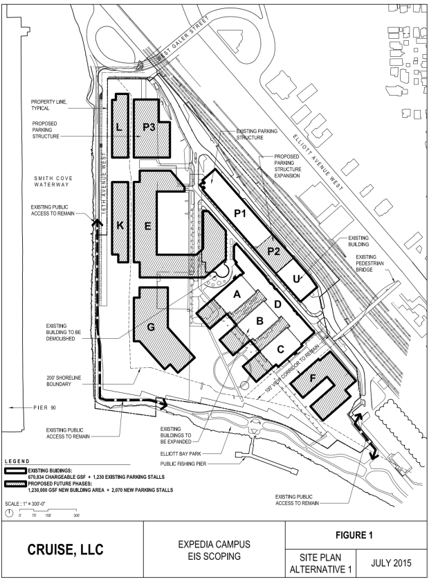 Alternative 1 In Expedia S Major Phased Development Master Plan Showing Six New Buildings