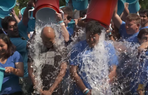 Microsoft CEO Satya Nadella and Windows chief Terry Myerson take the Ice Bucket Challenge for the second time.