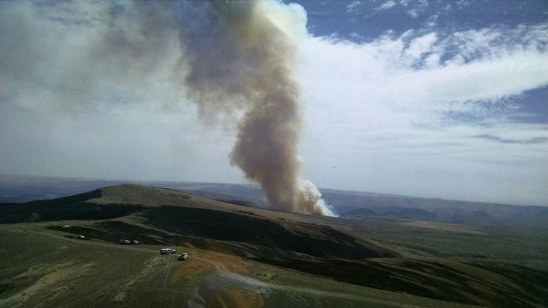An aerial view of the Douglas County Complex fire that was ignited by lightning last month.