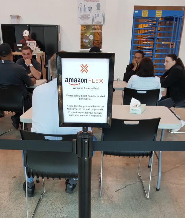 Inside the Amazon Flex facility in Kirkland.