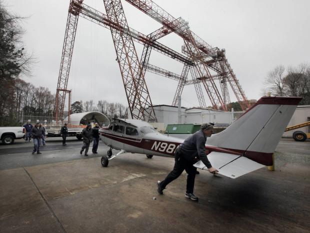 Crash test plane arrives at NASA Langley