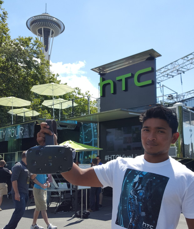 An HTC employee shows off a Vive headset in Seattle.