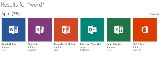 A host of mobile apps, but not the desktop version of Word