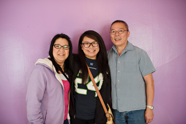 New Tune House resident Larissa Ho and her parents on move-in day this past September. Photo via Tune.