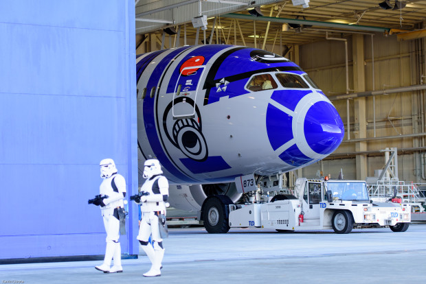 Stormtrooper security was tight as the Boeing Paint Hangar door opened