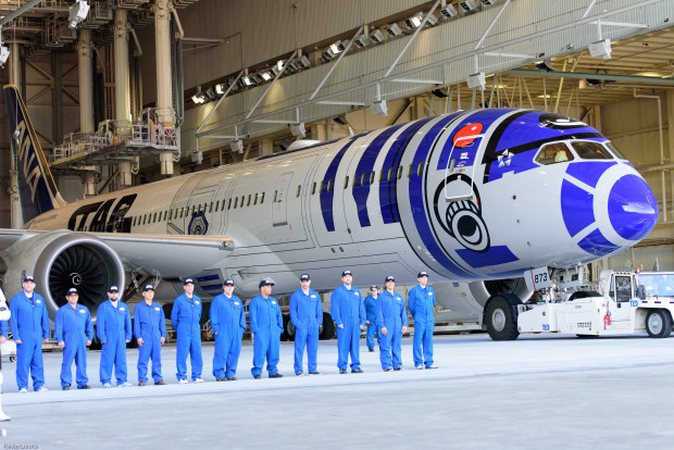 The Boeing paint crew looking somewhat Imperial