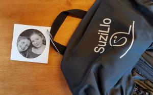 A SuziLlo backpack and tag. Photo: Lisa Stiffler.