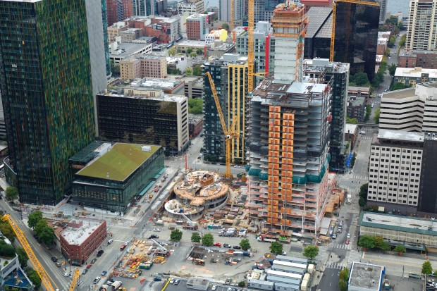 Amazon's biodomes under construction near downtown Seattle.