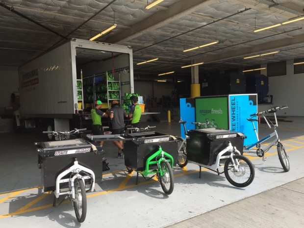 These custom AmazonFresh delivery bikes were used by IndyStealth to deliver groceries for the company. (Photo courtesy IndyStealth)