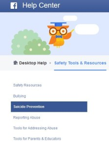 Suicide prevention resources on Facebook.