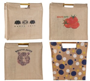 A selection of shopping bags sold by Alex Earling's company, Brute Jute.