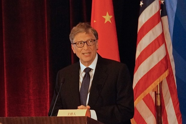 Bill Gates speaks at an event in Seattle on Tuesday after TerraPower signed an MOU with CNNC.