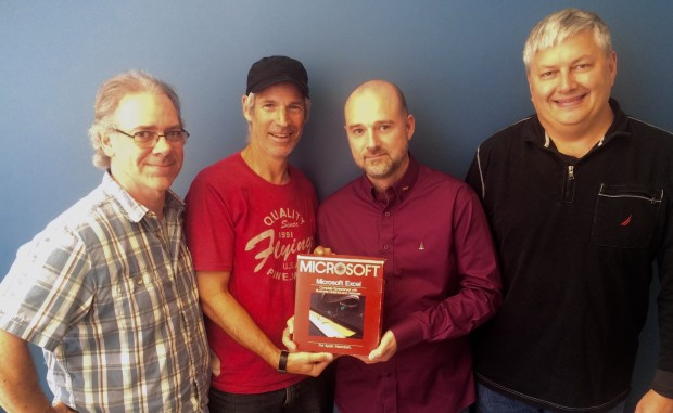 Mike Koss, Jabe Blumenthal, Doug Klunder and Jon DeVaan with Excel 1.0.