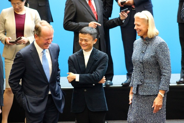 Cisco CEO John Chambers, Alibaba CEO Jack Ma, and IBM CEO Ginni Rometty share a laugh before meeting China President Xi Jinping.