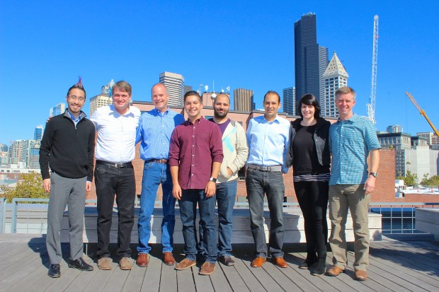 The Pioneer Square Labs team, from left to right: Ryan Kosai, Greg Gottesman, Geoff Entress, Ben Gilbert, Aria Haghighi, Marcelo Calbucci, Leah Severe, and Mike Galgon.