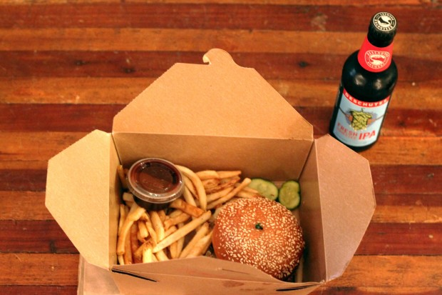 A hamburger ordered through Amazon's new restaurant delivery service.