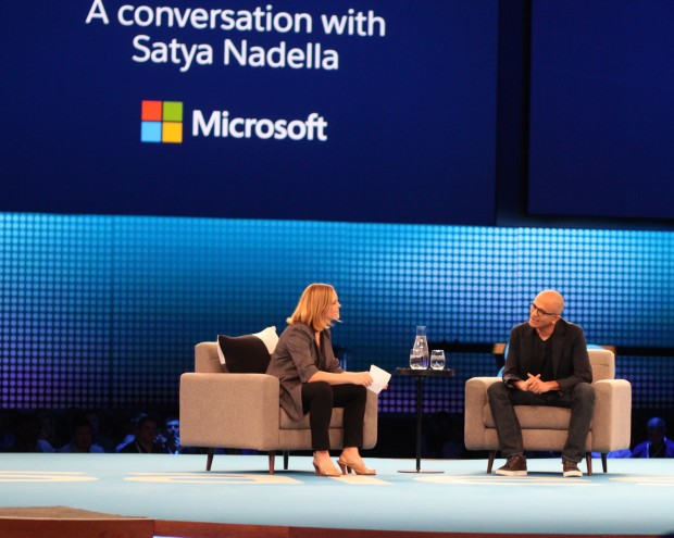 Microsoft CEO Satya Nadella on stage at Dreamforce.