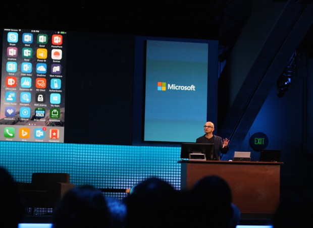 Microsoft CEO Satya Nadella gives a demo on an iPhone at the Dreamforce conference.