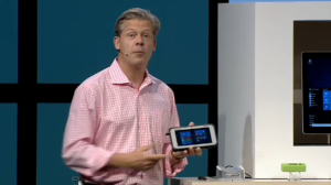 Microsoft VP of OEM Division Nick Parker shows of Windows 10 hardware at IFA tech show in Berlin.