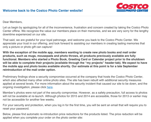 Costco photo center restored