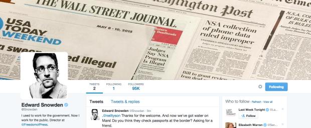 Photo via Twitter/Edward Snowden