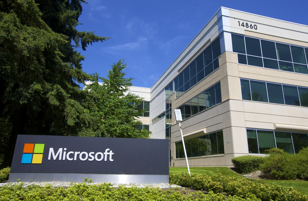 A building on the Microsoft Headquarters campus is pictured July 17, 2014 in Redmond, Washington. (Stephen Brashear/Getty Images, via Microsoft)