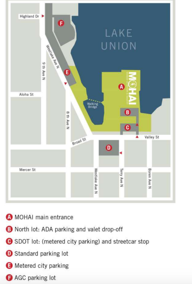 Suggested parking areas for the GeekWire Gala