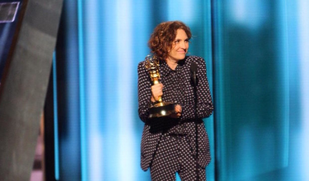 Series creator Jill Soloway accepts an Emmy for directing Transparent. (Photo: Television Academy.)