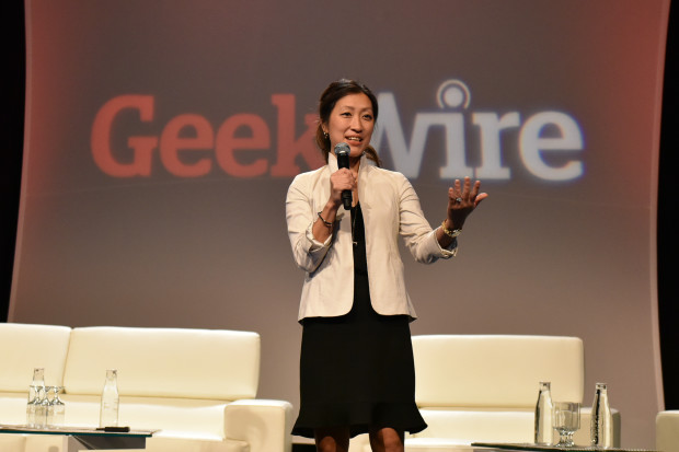 Naria Santa Lucia, executive director of the Washington State Opportunity Scholarship, kicks off Geeks Give Back at the GeekWire Summit