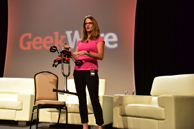 Michele Mehl demonstrates the Excy at the GeekWire Summit