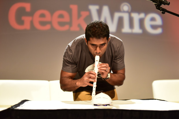 Wigl creator Vivek Mano demos the device at the GeekWire Summit.