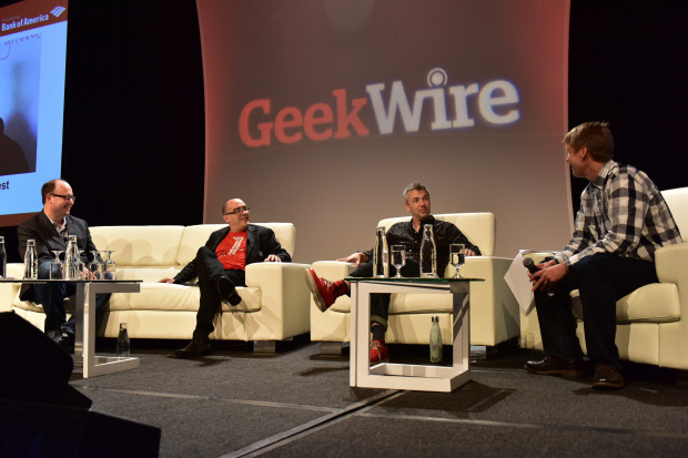 Dave McClure and Brady Forrest at the GeekWire Summit.