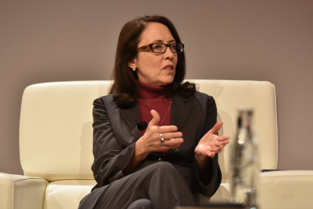 Senator Maria Cantwell on stage at the GeekWire Summit.