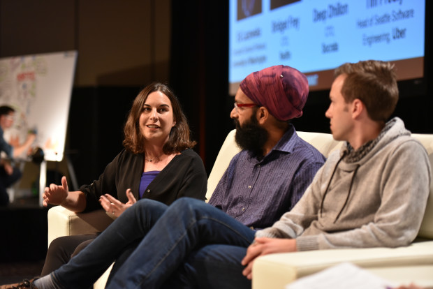 Bridget Frey, Redfin CTO, speaks on a panel with Socrata CTO Deep Dhillon and Tim Prouty, head of engineering at Uber Seattle.
