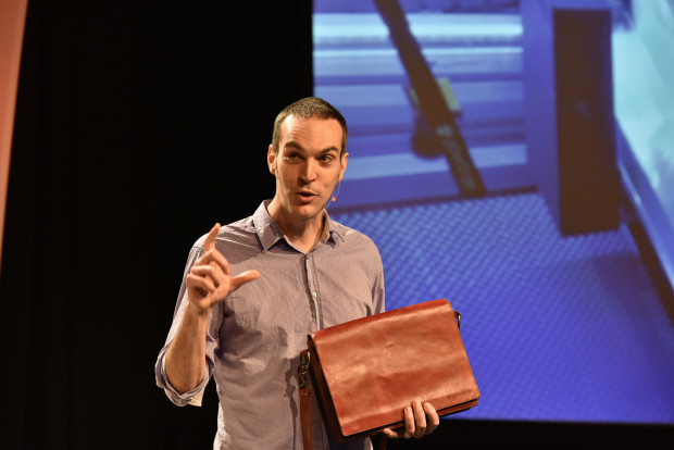 At last year's GeekWire Summit, Glowforge CEO Dan Shapiro showed off a bag he made with the Glowforge 3D laser printer.
