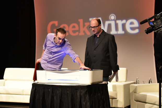 Dan Shapiro shows off the Glowforge at the GeekWire Summit earlier this month.