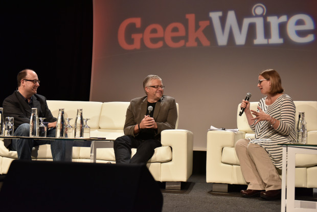 Tom Gonser, founder of DocuSign, center, with GeekWire's Todd Bishop and Tricia Duryee.