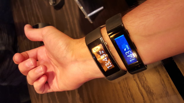 The new Microsoft Band (left) next to the original (right).