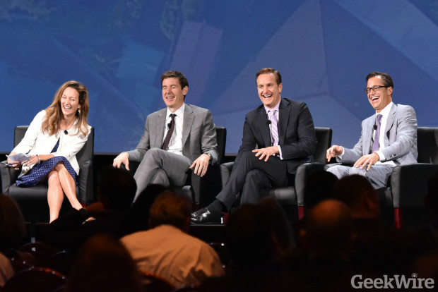 Amy Bohutinsky, Mark Britton, Robert Hohman and Rich Barton share a laugh at the Zillow Premier Agent Forum