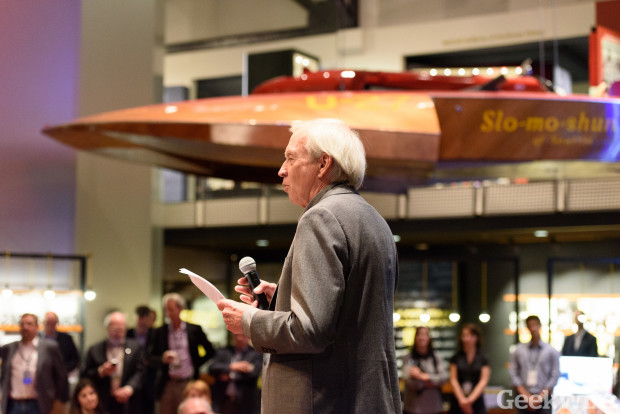 Madrona's Tom Alberg addresses the crowd at the 20th anniversary celebration at MOHAI