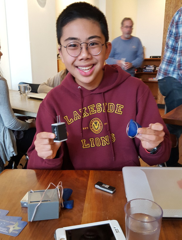 High school sophomore Christopher Lee and his IntelliH2O team will be in the SVP Fast Pitch finals promoting their water-quality tester. Photo: Lisa Stiffler.