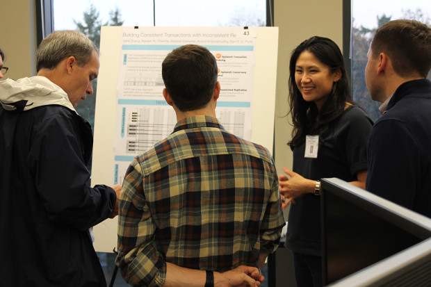 "Irene Zhang shows off her ""Consistent Transactions-Inconsistent Replication"" technology. Photo via UW."